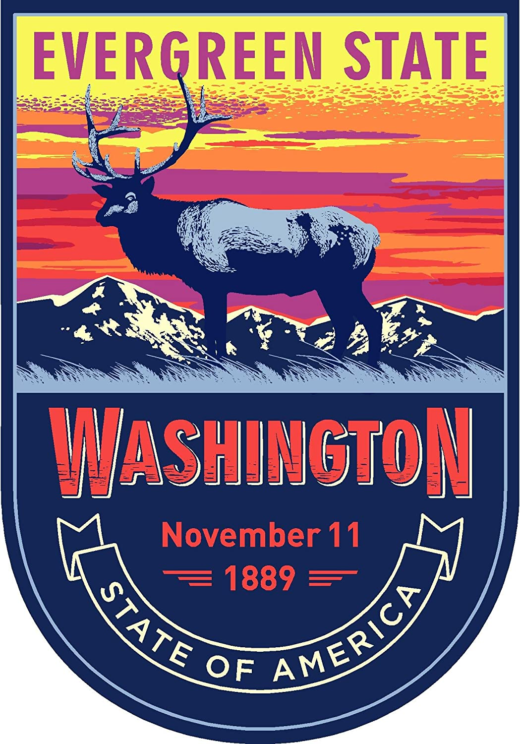 State Animal Washington Night 4x5.5 inches Sticker Decal die Cut Vinyl - Made and Shipped in USA