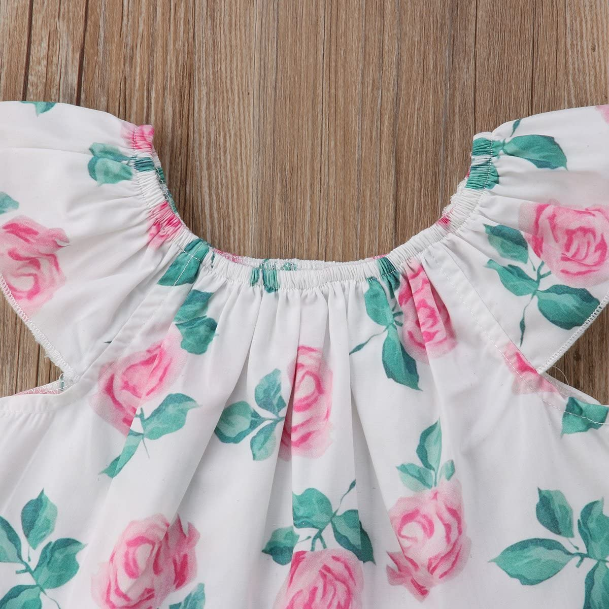6-12M White, 80 Toddler Kids Baby Girls Flower Clothes T-Shirt Tops+Denim Shorts 2pcs Outfits Set
