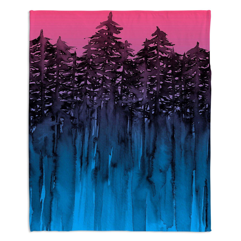 ブランケットウルトラソフトFuzzy 4サイズダイアノウチェデザインズ – Julia Di Sano Forest Treesピンクブルーホーム装飾寝室ソファスローブランケット Large 80