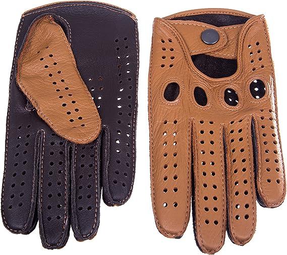 Dark Brown Handmade Driving Gloves Deerskin Leather