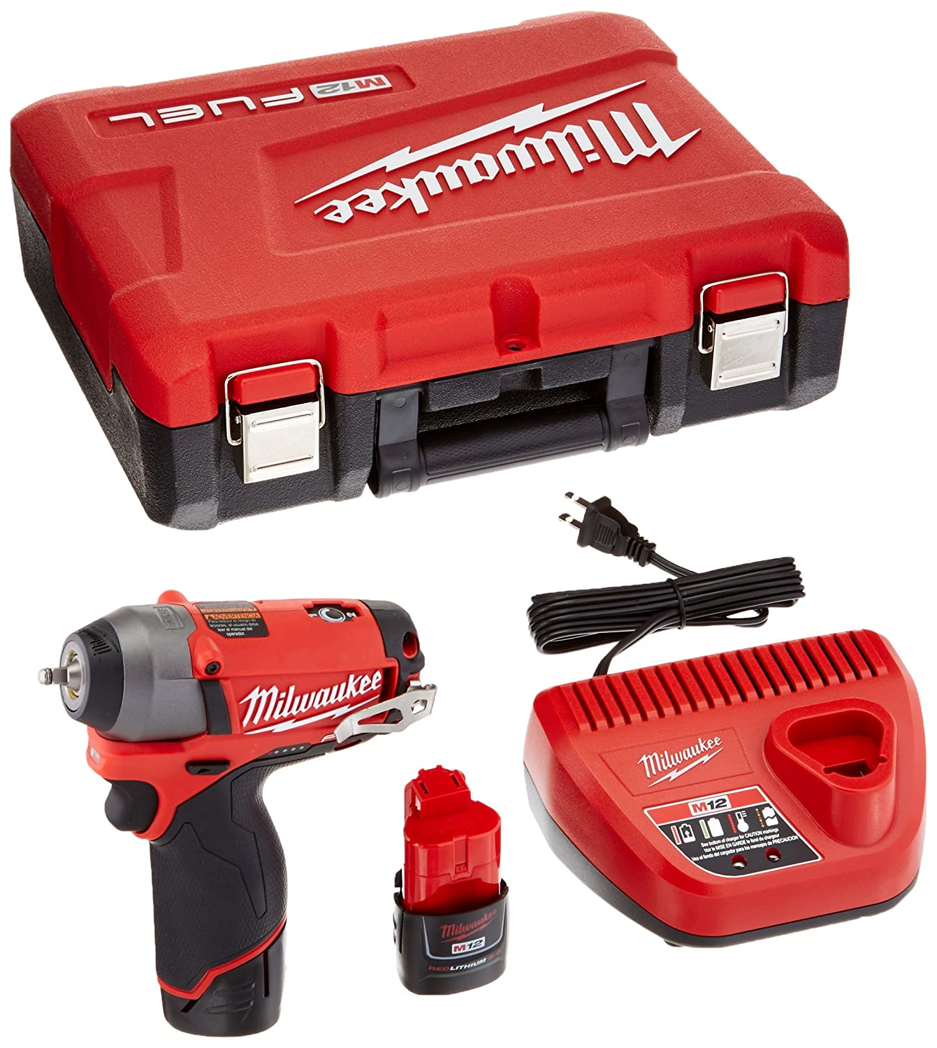 Milwaukee 2452-22 M12 Fuel 1 4 Impact Wrench Kit W 2 Bat