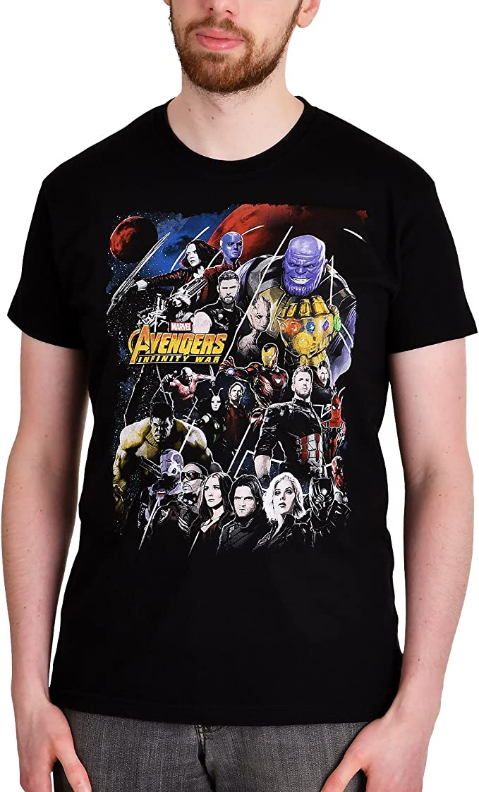 T-Shirt Uomo Avengers Endgame Collage Marvel Cotton Black