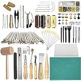 Leather Working Tools SIMPZIA 131PCS Leathercraft Tools with 20PCS Leather Stamping Tools, Cutting Mat, Stitching…