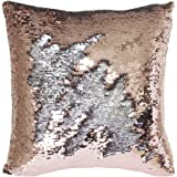 "Mermaid Pillow Case, Play Tailor Magic Reversible Sequin Pillow Cover Throw Cushion Case 16""X16""(Champagne-Silver)"