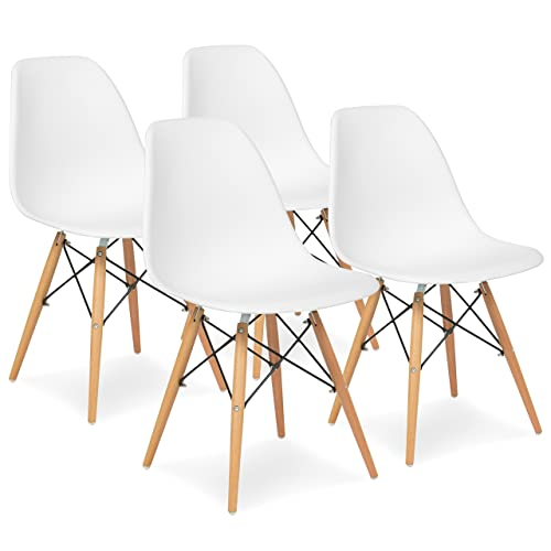 Best Choice Products Set of 4 Mid Century Modern Dining Chairs w Wood Legs, Molded Plastic Shell – White