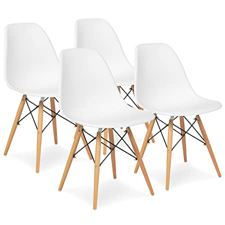 Best Choice Products Set of 4 Mid Century Modern Eames Style Dining Chair w Wood Legs, Molded Plastic Shell – White