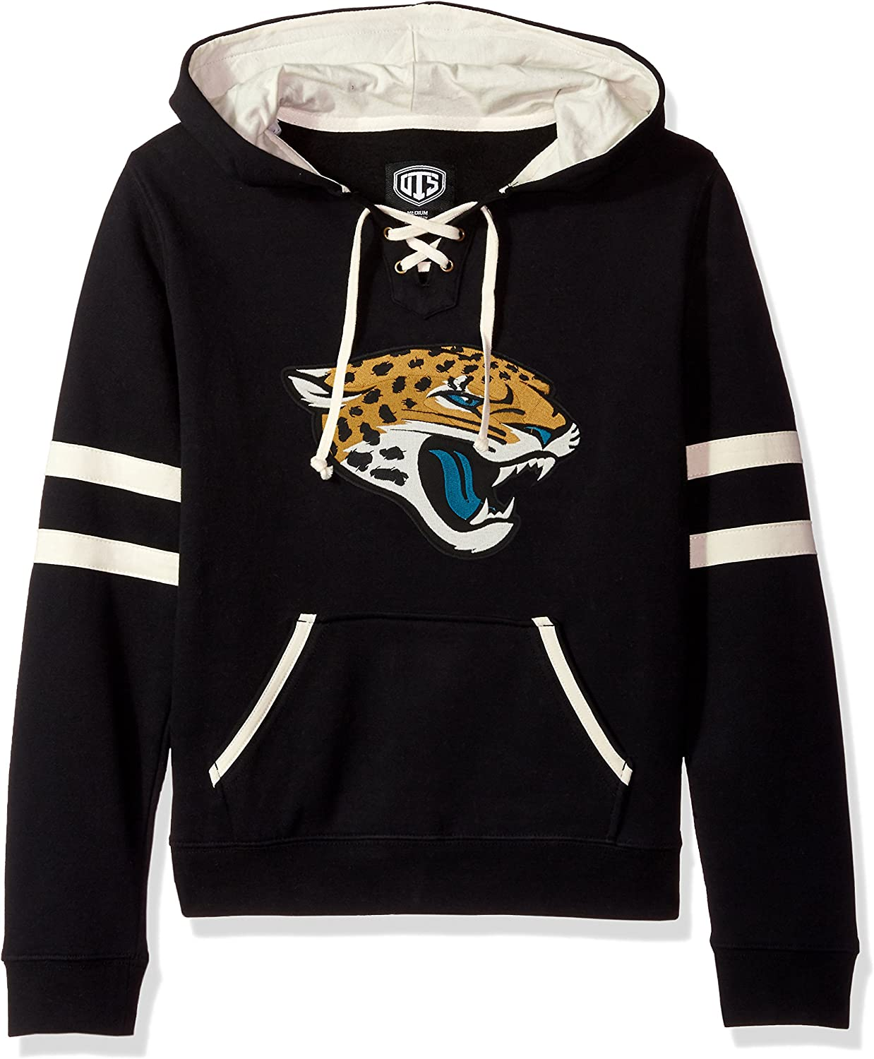 Large OTS NFL Jacksonville Jaguars Womens Grant Lace Up Pullover Hoodie Logo