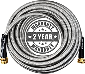 IRRIGLAD Garden Hose 304 Stainless Steel Metal Braided Hose, Lightweight, Kink-Free, Tough, Flexible Water Hose Rust Proof, Puncture, Portable, 3/4