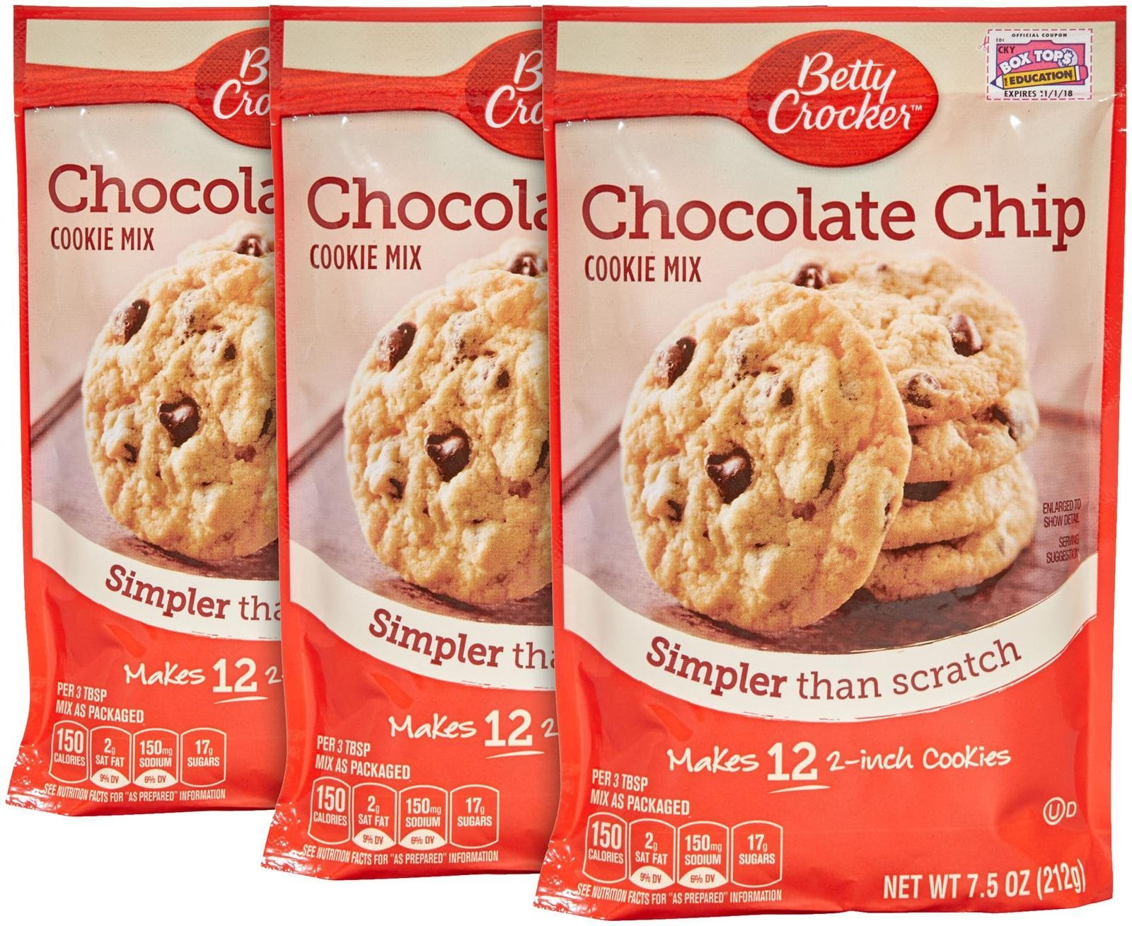 Betty Crocker Snack Size Cookie Mix-Chocolate Chip-7.5 Oz-3 Pack