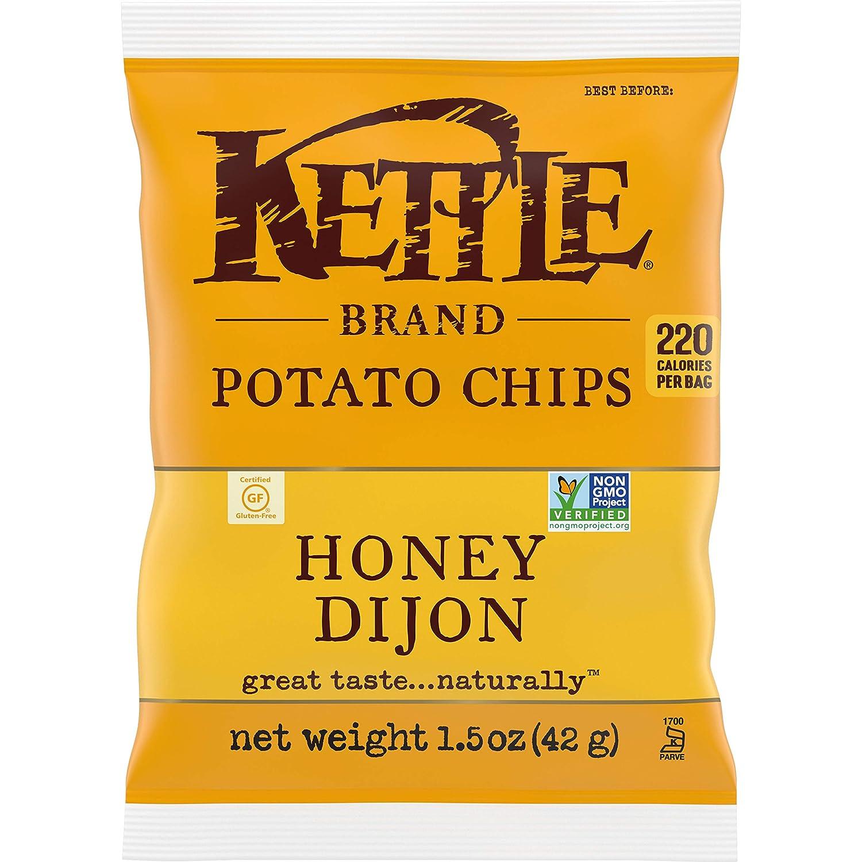 Kettle Brand Potato Chips, Honey Dijon, Single-Serve 1.5 Ounce Bags (Pack of 24)