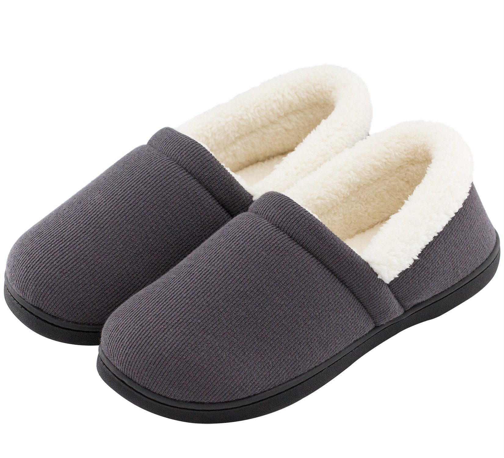 HomeTop Men's Comfy Fuzzy Knitted Cotton Memory Foam Indoor Outdoor House Shoes (US Men's 9-10, Gray)