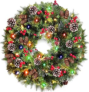 TURNMEON 24 Inch Christmas Wreath with 80 Colorful Lights Battery Operated for Christmas Indoor Outdoor Decoration for Front Door with 220 Pine Branch Pine Cones Berries Snowflakes Xmas Garland Wreath