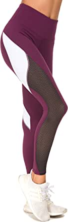 QUEENIEKE Womens' Yoga Pants Color Blocking Mesh Workout Running Leggings Tights