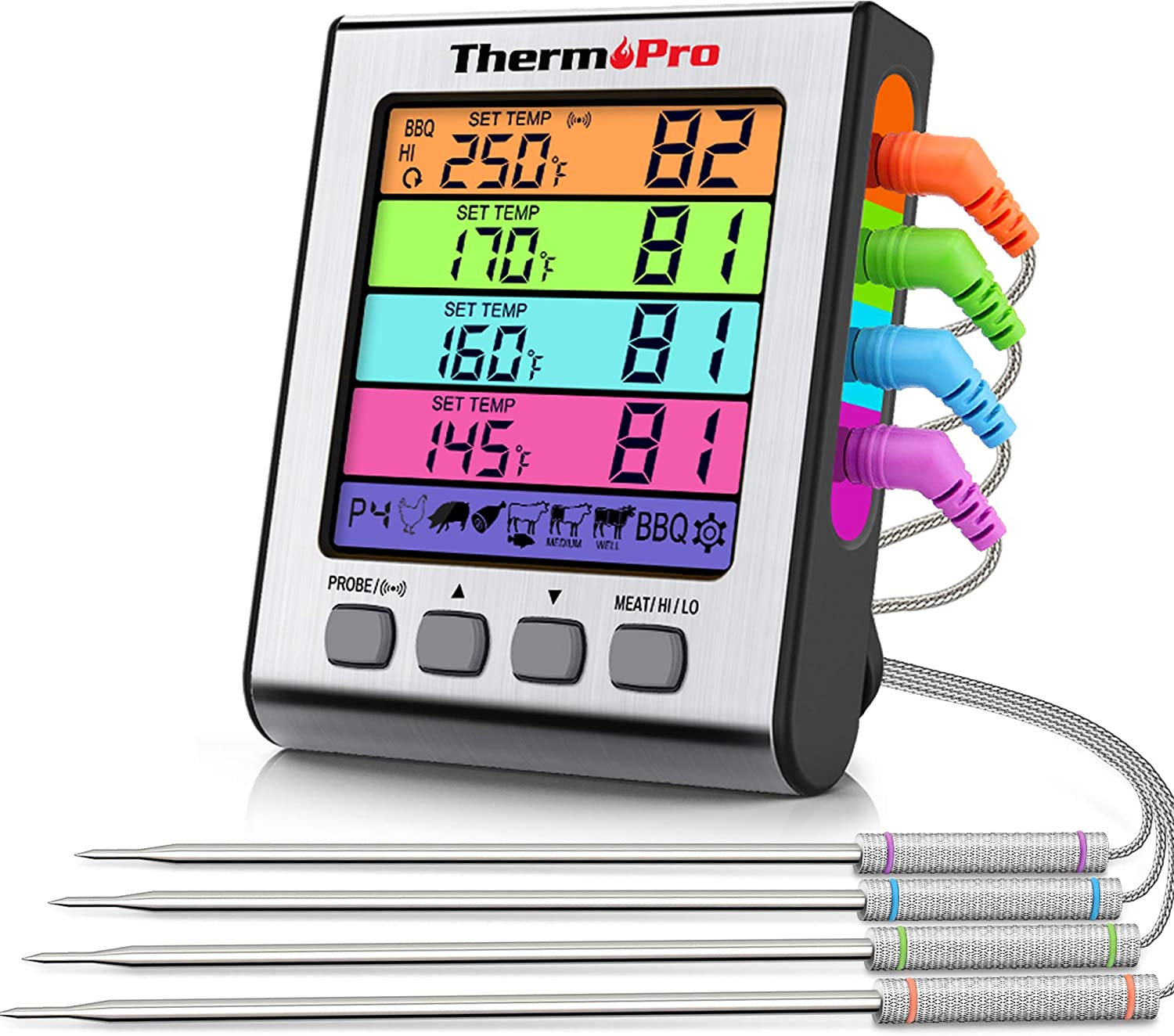 ThermoPro TP17H Meat Thermometer for Grilling and Smoking with 4 Temperature Probes for Beef Turkey Candy Deep Fry Cooking BBQ, Large, sliver