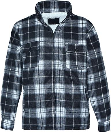 Men/'s Heavy Fleece Lined Sherpa Hoodie Plaid Flannel Jacket With Hood