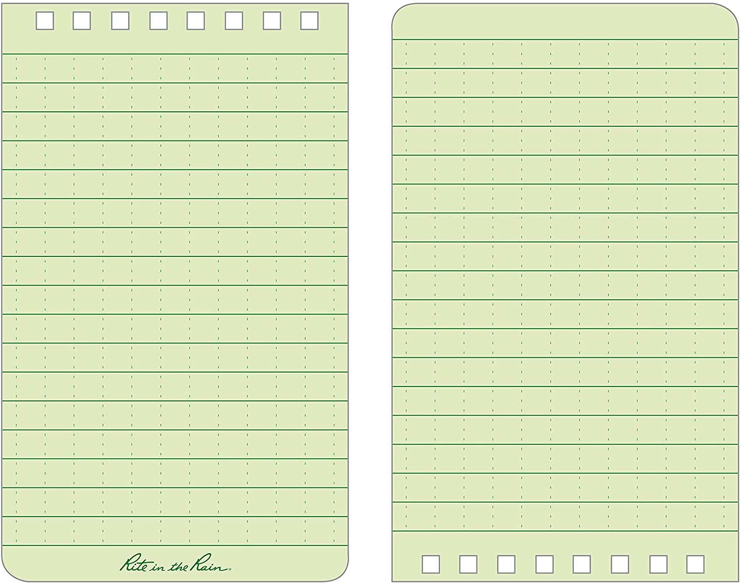 No. 935 Universal Pattern Rite in the Rain Weatherproof Top-Spiral Notebook Green Cover 3 x 5