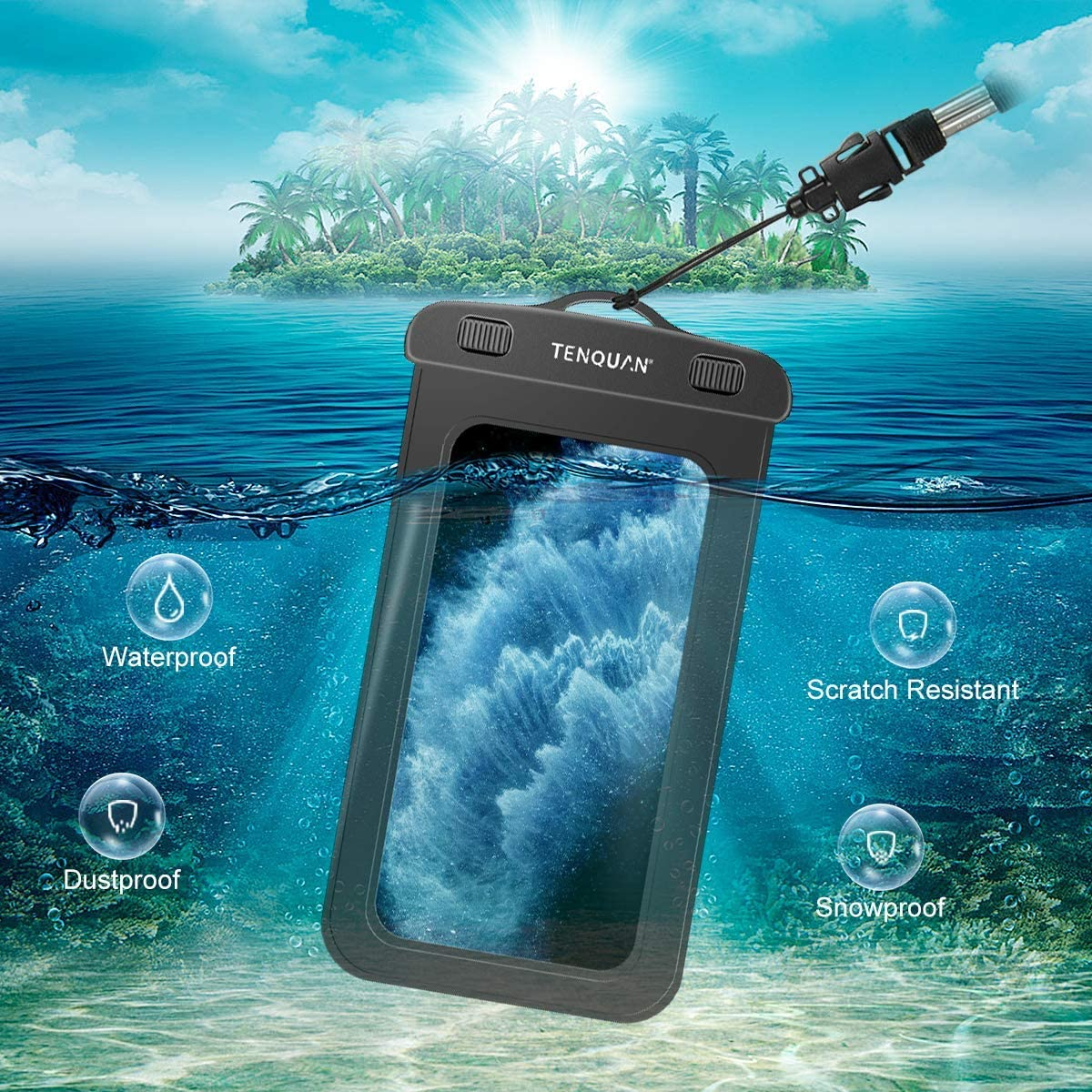 Boating,Skating Swiming for Beach Waterproof Floating Smart Phone Pouch Underwater Case with Waterproof Waist Dry Bag 2 Pack TENQUAN Waterproof Waist Pouch 1 Pack
