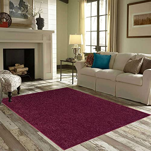 Ambiant Solid Cranberry Color Oversize 6 x9 Area Rug