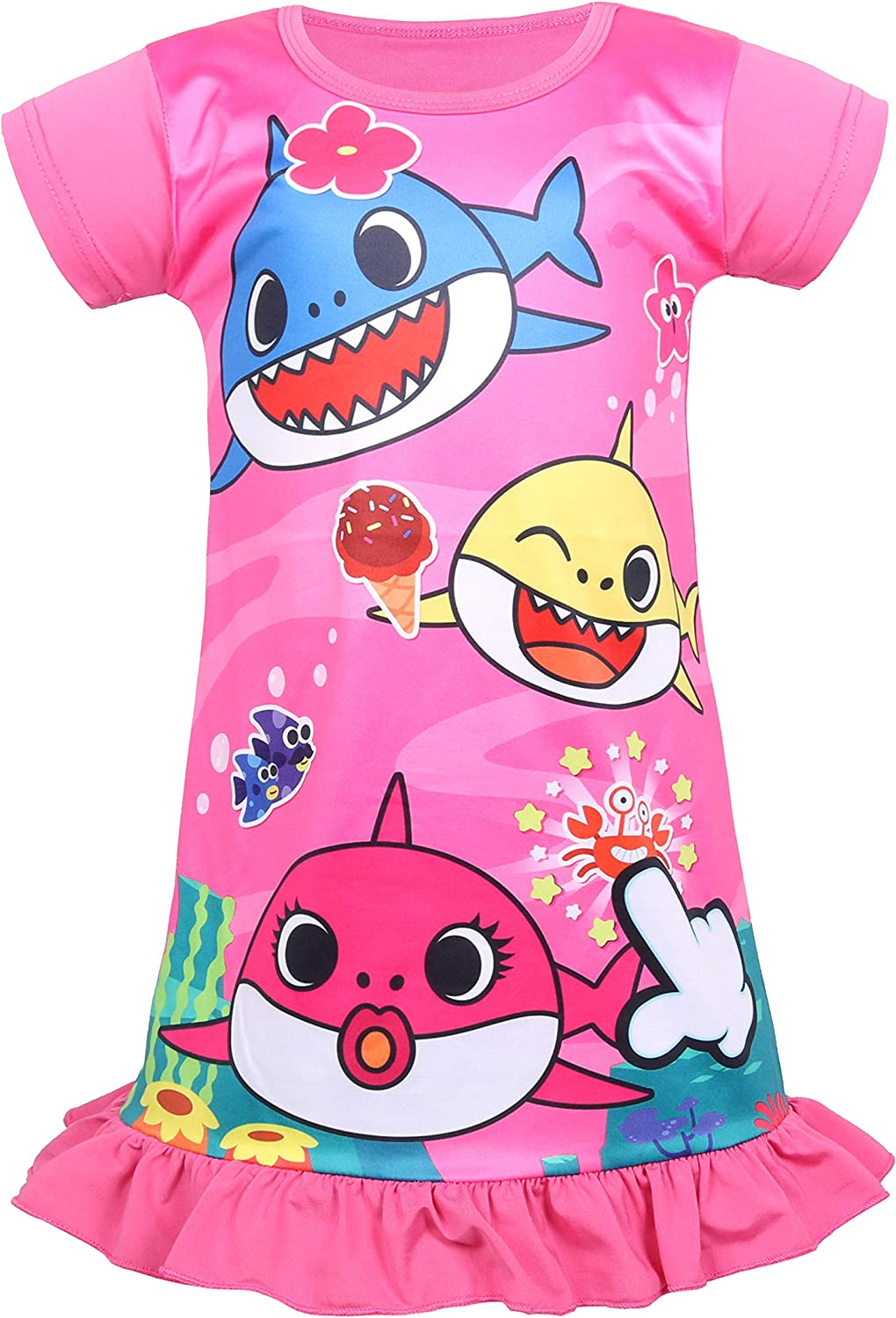 Coralup Toddler Girls Short Sleeve Nightgown Dress(Rose,3-4 Years)