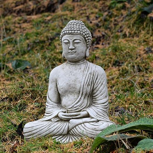 Classic adorno de jardín de piedra estatua de Buda meditando Escultura fundido a medida decoración regalo: Amazon.es: Jardín