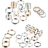 Milacolato 30Pcs Knuckle Rings Simple Smooth Twist Rings Gold Platinum Plated Midi Finger Ring Stackable Rings Set for Women