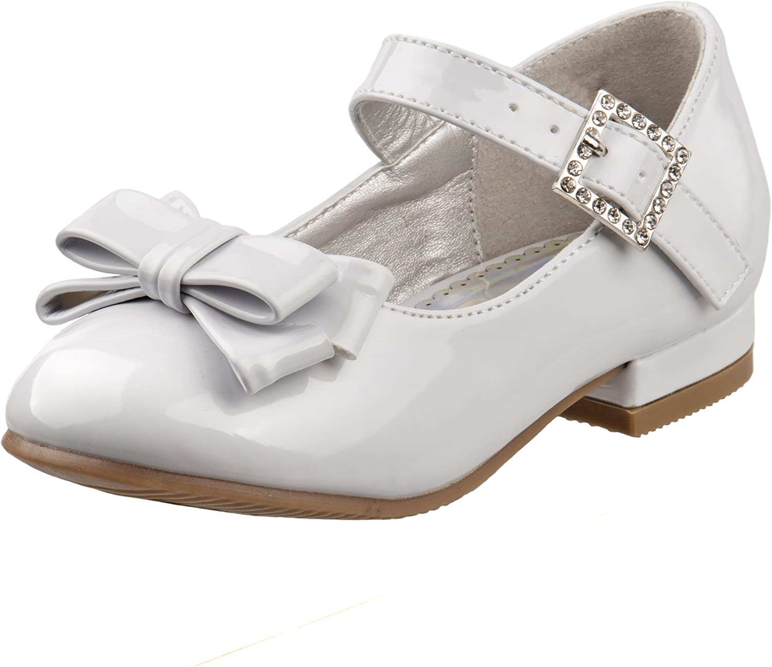 America Dogs Girls Dress Shoes Glitter Ballet Flats with Ankle Strap Buckle