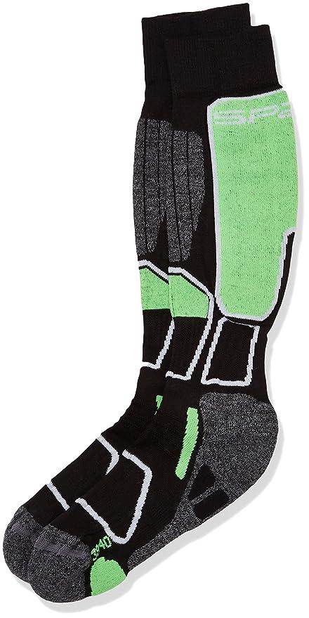 SPAIO ® Calcetines Unisex Thermo Ski Power, Negro/Verde, 35-37