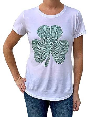 044b737cf Amazon.com: Women's Studded Shamrock St. Patrick's Day Tshirt: Clothing