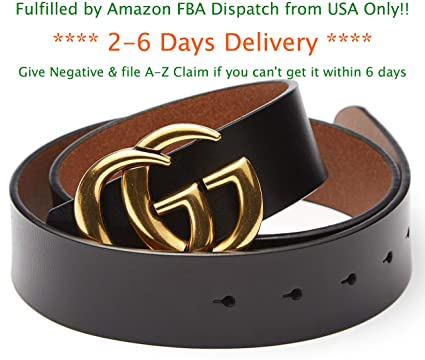 950518a8f052 US FBA Fast Deliver 2-7 Days Guarantee - Fashion Style Gold Buckle Leather  Belt