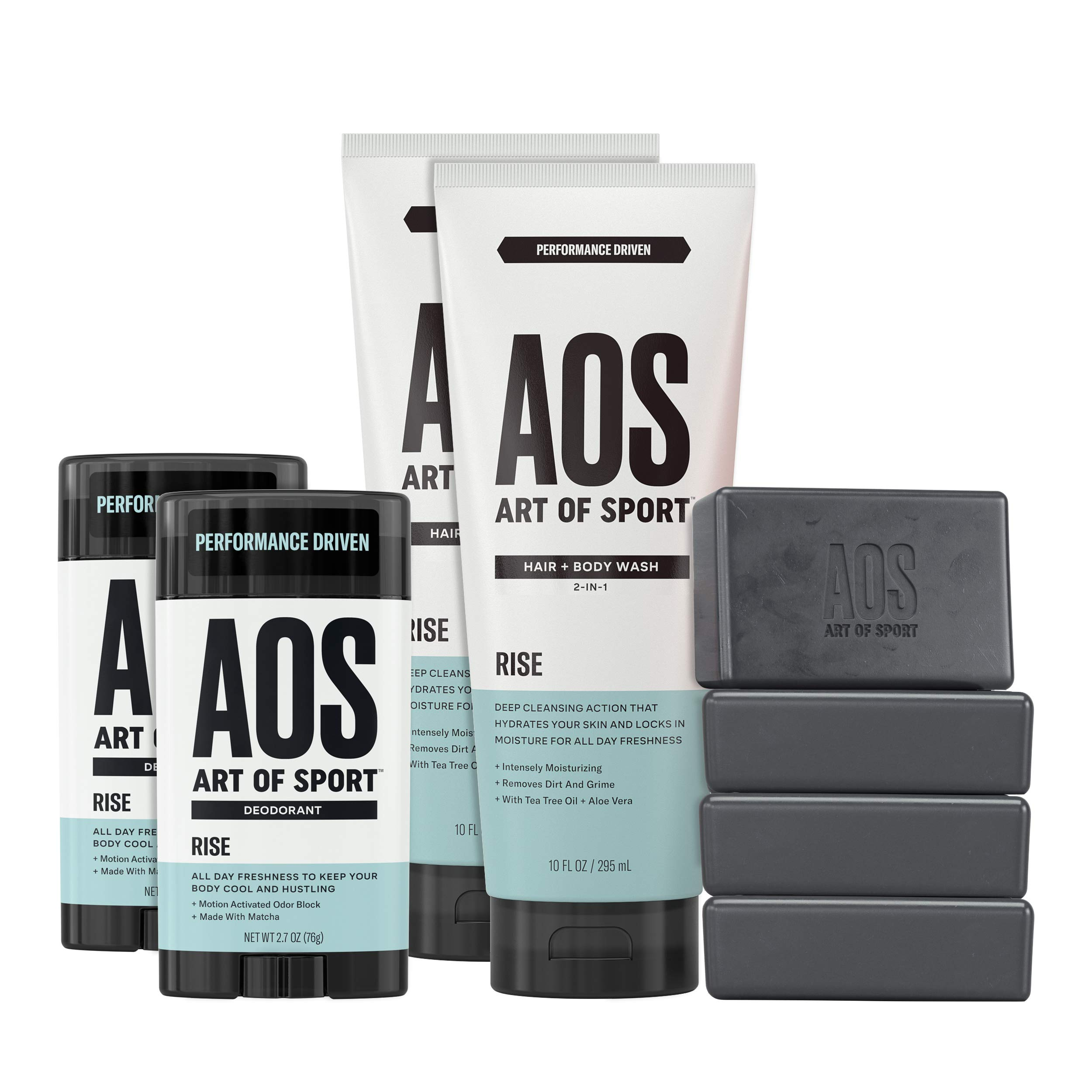 Art of Sport Athlete Collection, Rise Scent, 8pc Skin and Body Care Set with Aluminum-Free Deodorant, Hair and Body Wash, and Body Bar Soap