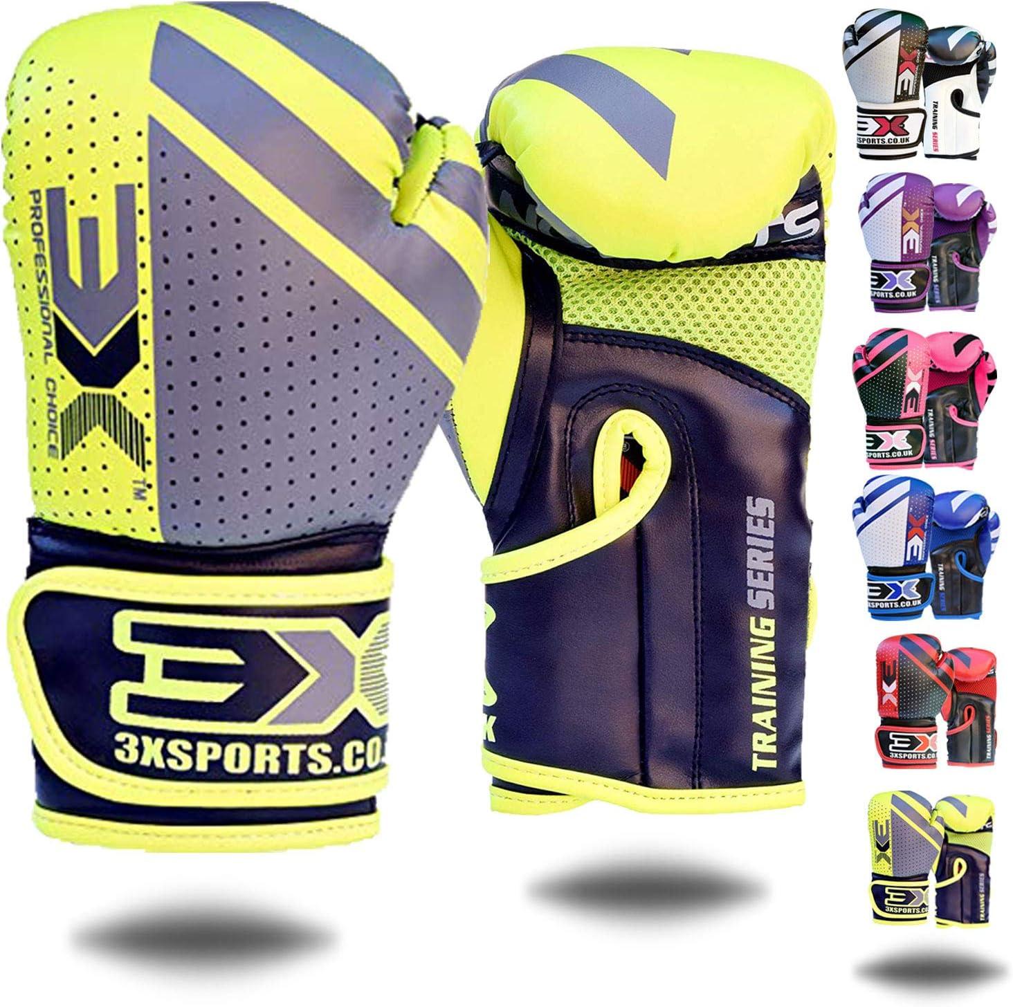 3X Professional Choice Gants de Boxe Kickboxing Muay Thai Gant Sac Frappe Sparring Entrainement Cuir Mitaines Competition Boxing Gloves Garcons Filles