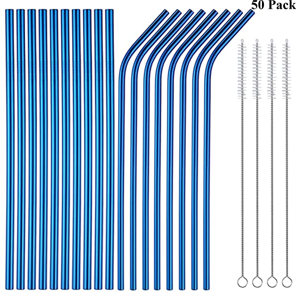 Sunwinc 50-Pack Stainless Steel Straws-Blue Color,8.5Inch Reusable Drinking Metal Straws For 20oz Tumblers Yeti Cups Travel Mugs,Eco-Friendly Dishwasher Safe (Blue-50Pack) (Color: Blue-50Pack)