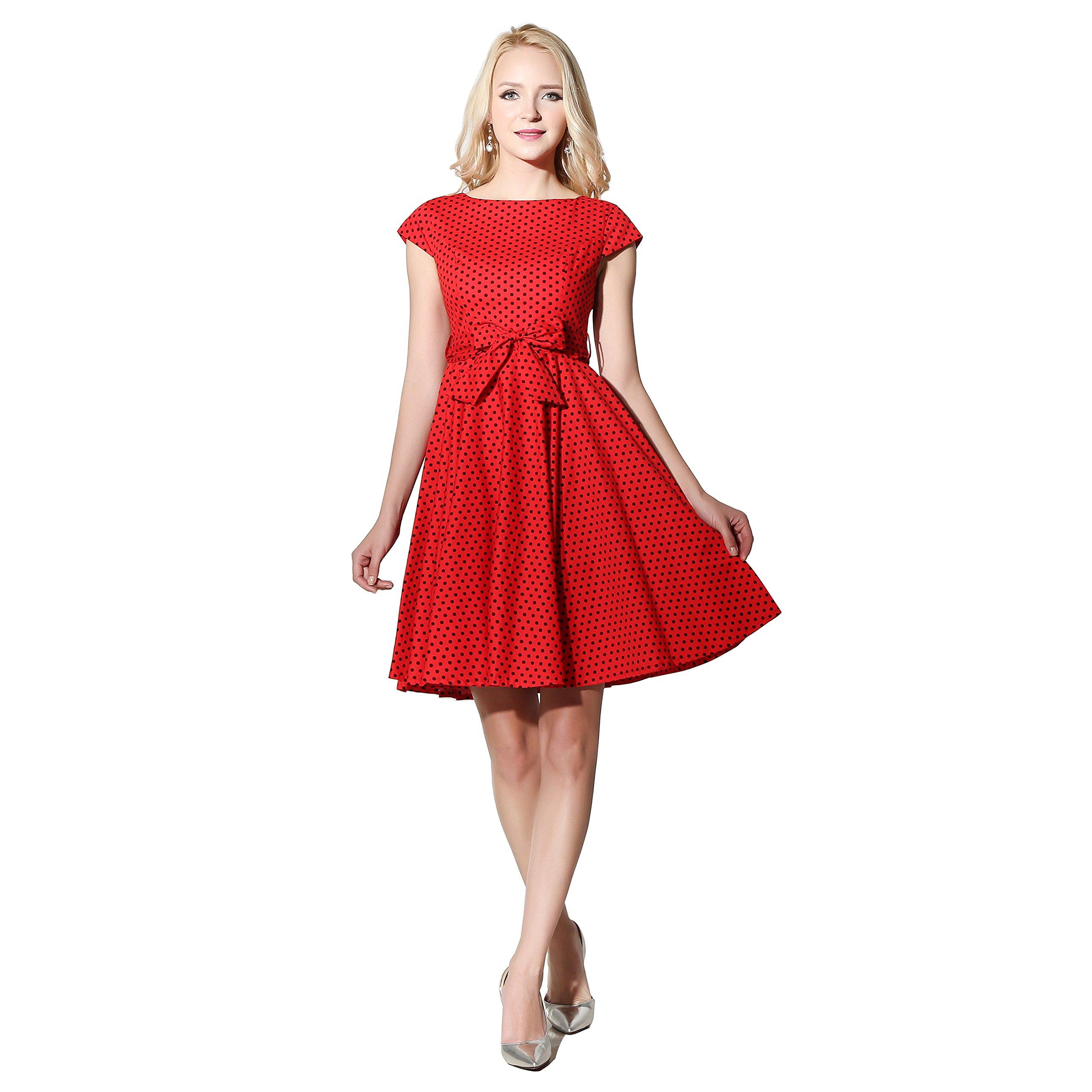 FiftiesChic Cap Sleeves 100% Cotton Polka Dot 50s Vintage Rockabilly Swing Dress (XX-Large, Red Black Mini)