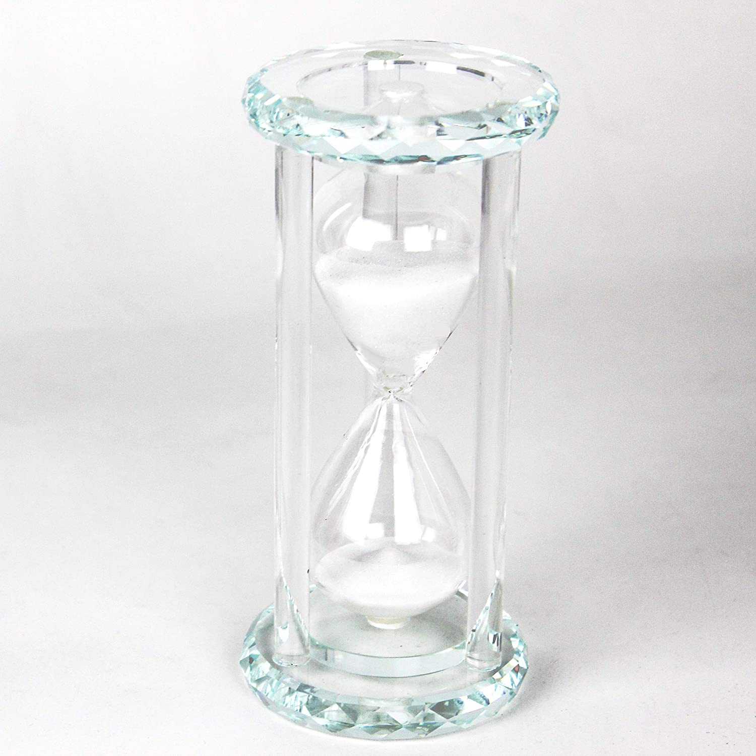 Lonovel 60 Minutes Hourglass Timer,Crystal Sand Timer Diamond Carving Surface,Hourglass for Kitchen Office Desk Coffee Table Book Shelf Cabinet Home Decor Birthday Gift Box Package,2 Color(Pure White)