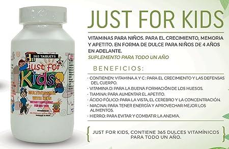 Amazon.com: Vitaminas para niños Just for Kids. Suplemento para todo un año. Vitaminas y Minerales para el crecimiento, memoria y apetito en forma de dulce ...