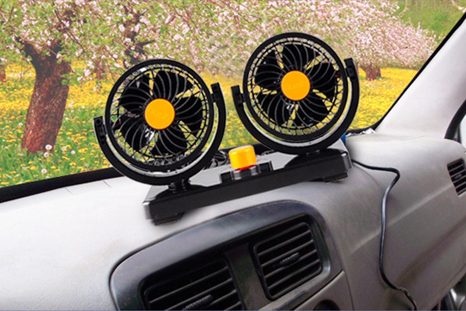 Willcomes 24 Dual Head Car Auto Cooling Air Fan 360 Degree Rotation Powerful Quiet 2 Speed Adjustable Strong Wind Auto Cooling Air Fan with Kids Safe Design by Willcomes (Image #4)