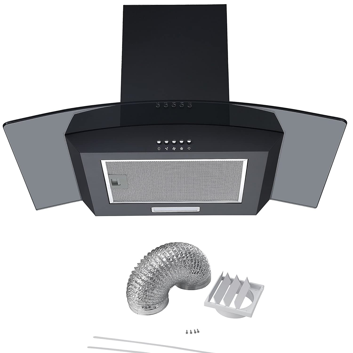 Black Cookology CGL700BK 70cm Smoked Curved Glass Chimney Cooker Hood & Duct CGL700BK DK1M150