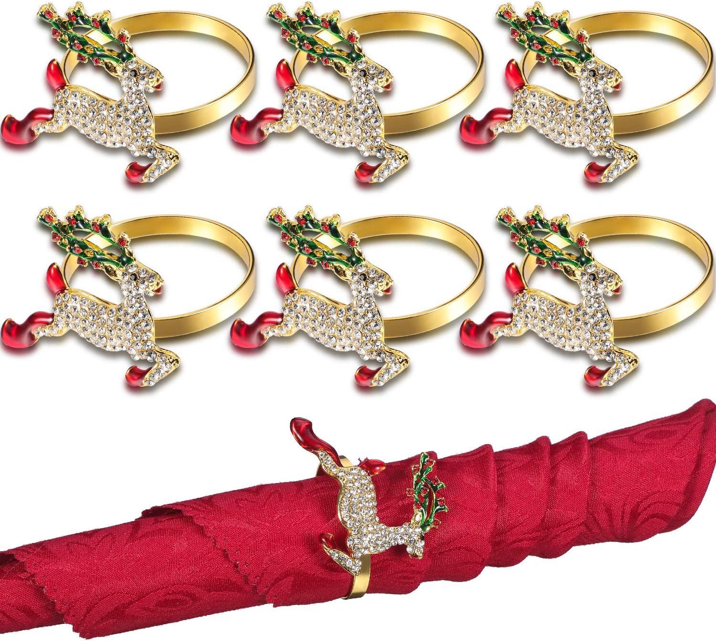 Ronds de Serviette de Cerf 6 Ensembles Anneaux de Serviette de No/ël Anneau de Serviette /Él/égante de Renne pour F/ête de D/îners de No/ël Parure dAccessoires de D/écoration de Table de Mariage