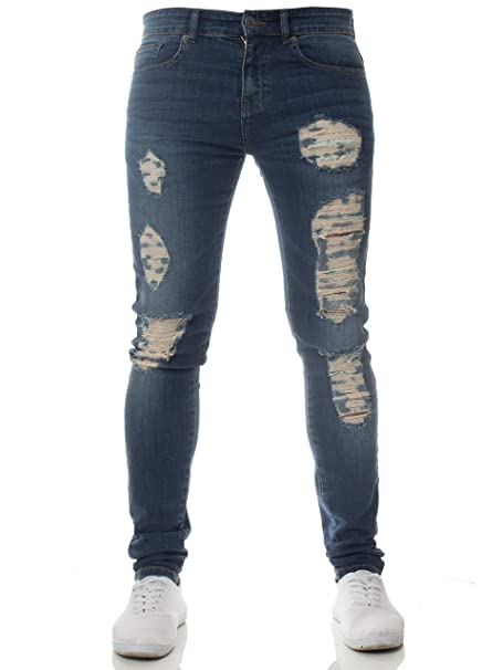 2e0feb044 Clothing Enzo New Mens Super Stretch Skinny Jeans Ripped Distressed Designer