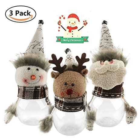 christmas candy jar set of 3 santa claus snowman elk clear plastic xmas candy container - Christmas Candy Jar Decorations