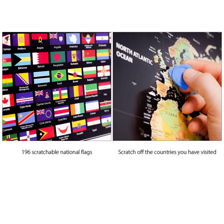 MyGadget Carte du Monde /à gratter pour Globe Trotter Poster Pays /& Drapeaux 77 x 56 cm ENGLISH Scratch Off World Map D/écouverte /& Voyages