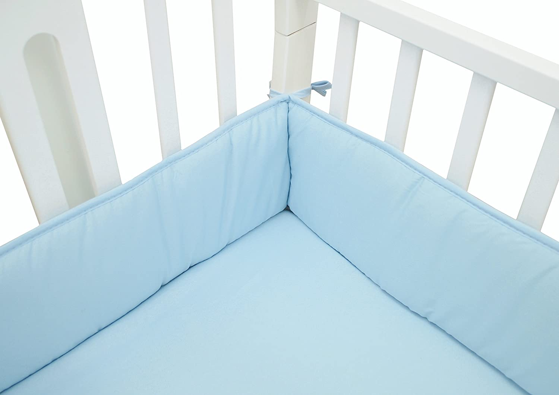 TL Care Cotton Percale Portable Crib Bumper, Mini, Blue, for Boys and Girls