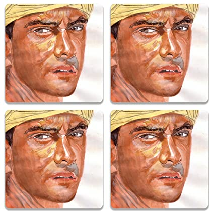 Buy Colorpur Aamir Khan In Lagaan Wooden Square Coaster Set Of 4