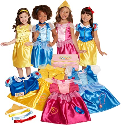 Amazon Com Disney Princess Dress Up Trunk Deluxe 21 Piece Toys