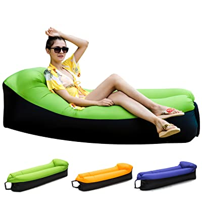 Inflatable Lounger Air Sofa Chair with U-shape neck pillow and handy storage bag for Camping&Hiking & Swimming pool to use as mattress