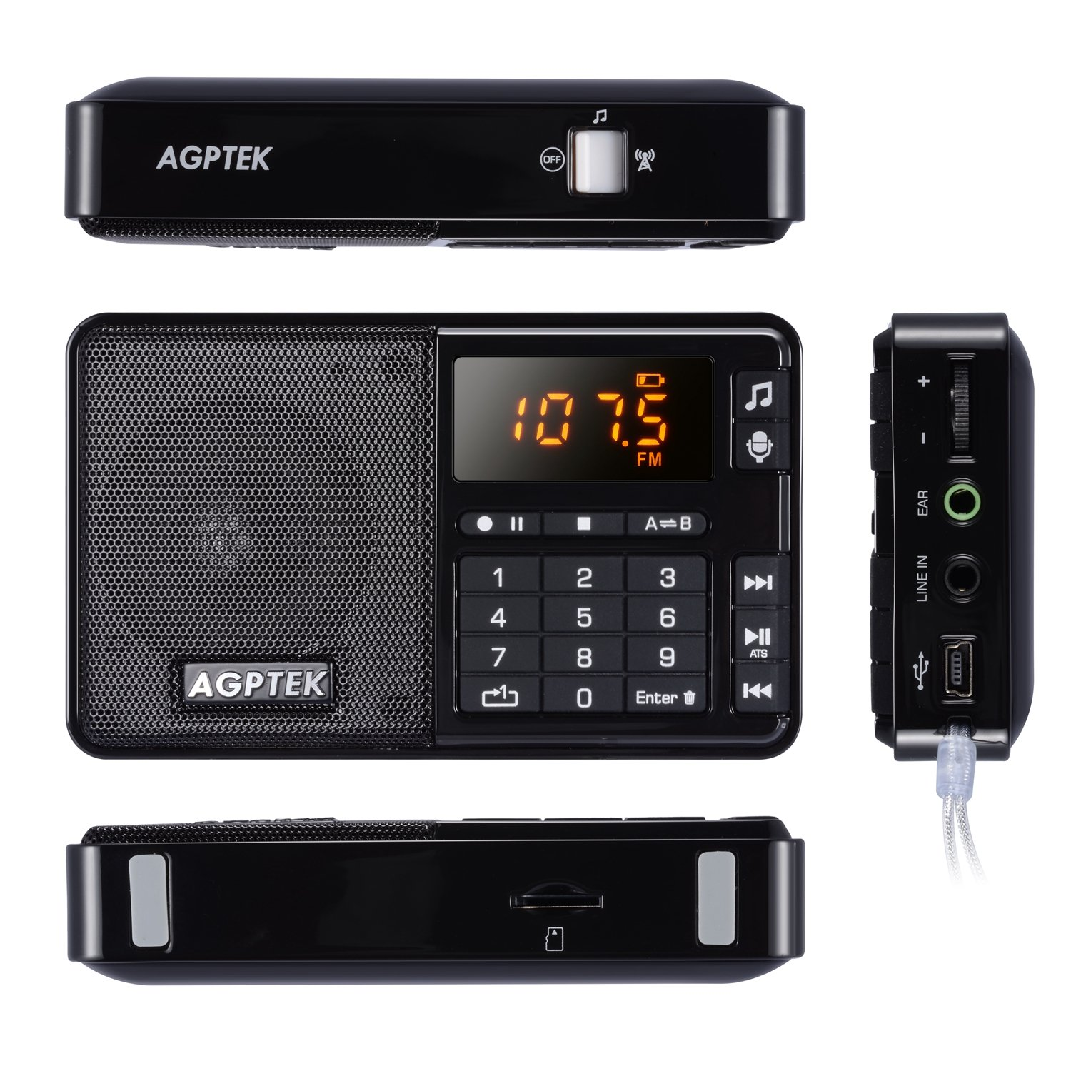 Amazon.com: AGPTek R08 Portable Mini MP3 Player, FM Radio and Line-In  Voice/Radio Recorder With Built-in Speaker, Supported Up To 32 GB SD Card  (Black): ...