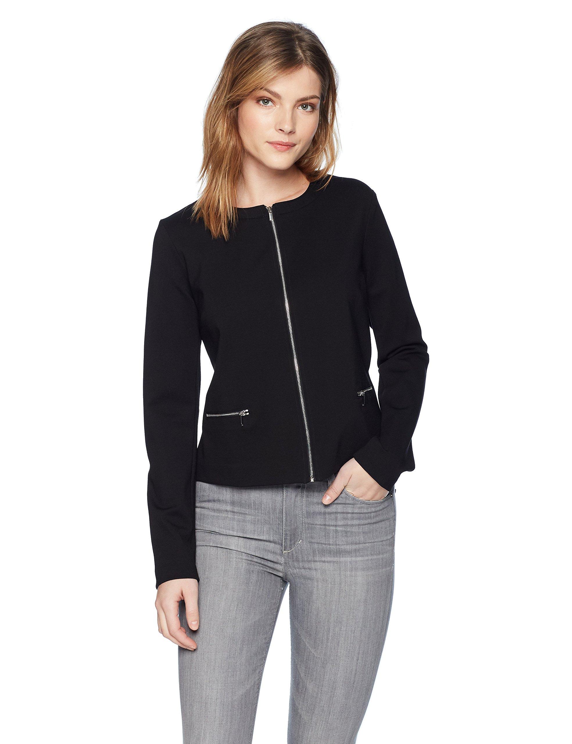 Three Dots Women's Ponte Tight Short Jacket, Black, Extra Large