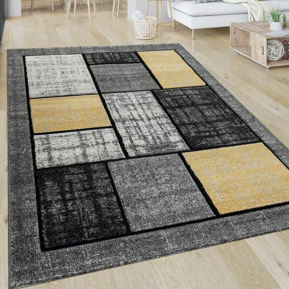 Dimension:60x100 cm Paco Home Tapis Salon Motif Ray/é Moderne Poils Ras Abstrait Lignes Jaune Gris