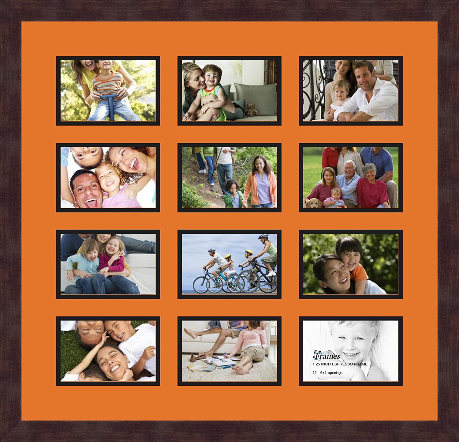 Art to Frames Double-Multimat-232-712//89-FRBW26061 Collage Frame Photo Mat Double Mat with 12-4x6 Openings and Espresso Frame