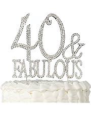 Decoración para tarta con texto en inglés «40 & Fabulous», decoración para